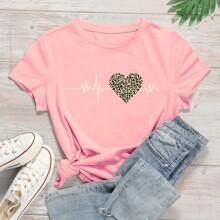 T-Shirt mit Herzen, Leopard Muster und kurzen Ärmeln