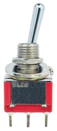 TE Connectivity Single Pole Double Throw (SPDT) Toggle Switch, (On)-Off-On, PCB