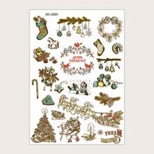 1 hoja pegatina de tatuaje de navidad
