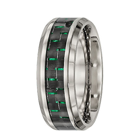 Mens Titanium With Black & Green Carbon Fiber Inlay Wedding Band, 11 1/2 , No Color Family