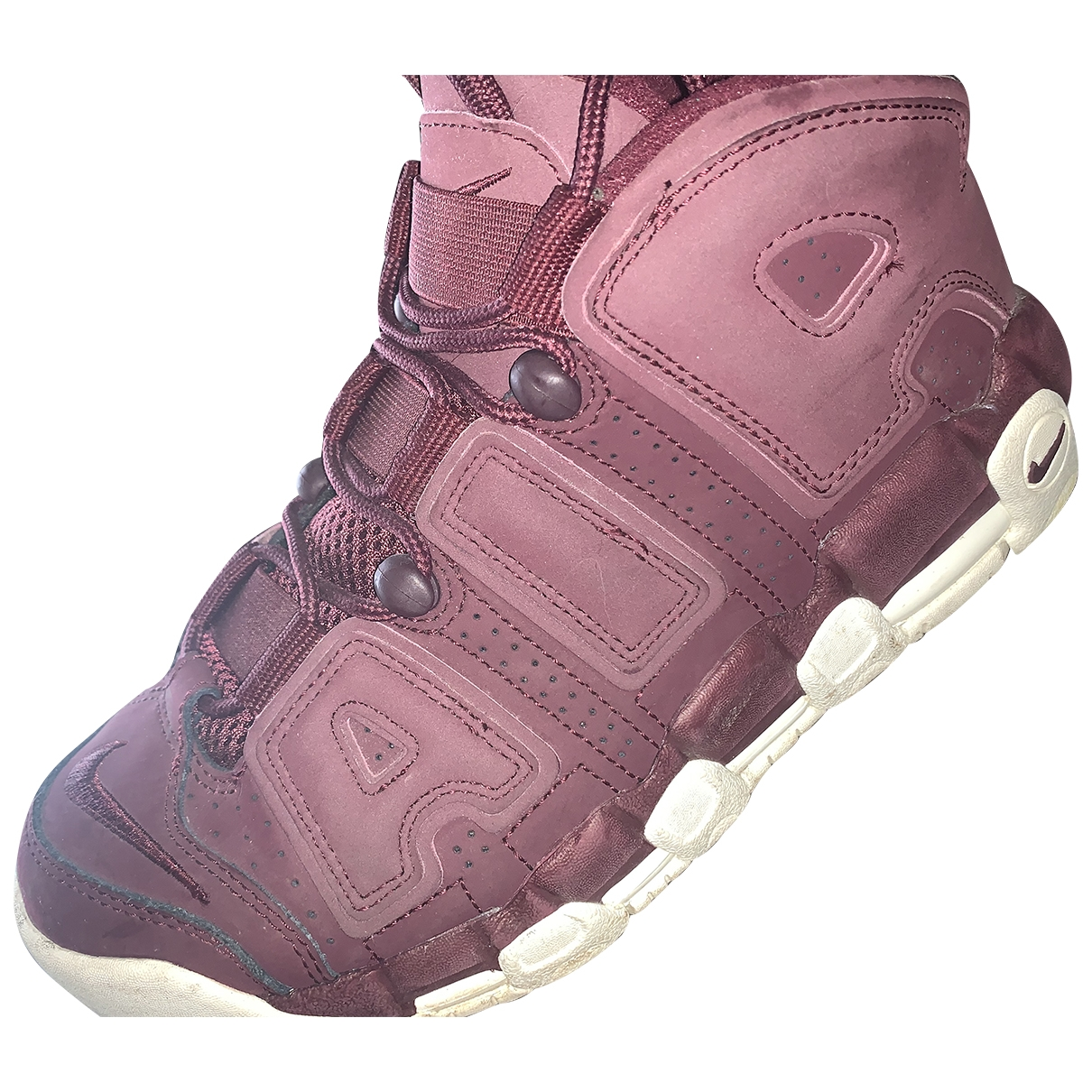 Nike Air More Uptempo Burgundy Leather Trainers for Women 38.5 EU