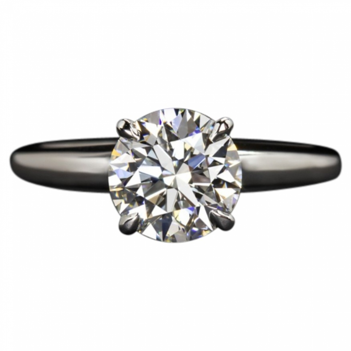 Non Signe / Unsigned Solitaire Ring in  Weiss Weissgold