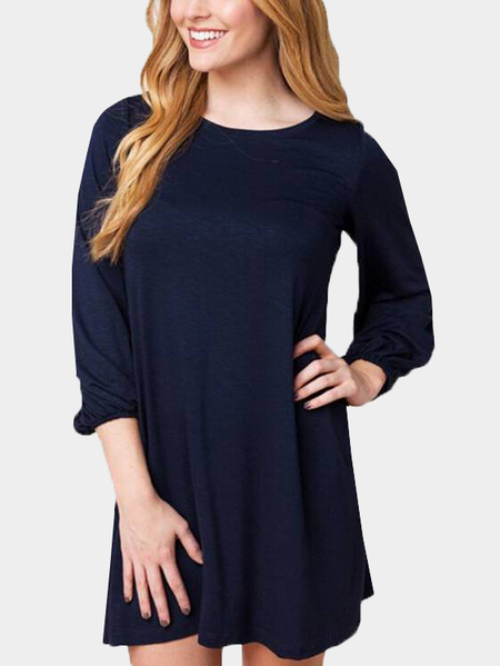 Yoins Navy Long Sleeves Short Length Dress