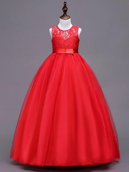 Milanoo Flower Girl Dresses Lace Tulle Bows A Line Kids Formal Dress Floor Length Little Girls Social Party Dress