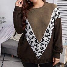 Plus Chevron Pattern Drop Shoulder Sweater