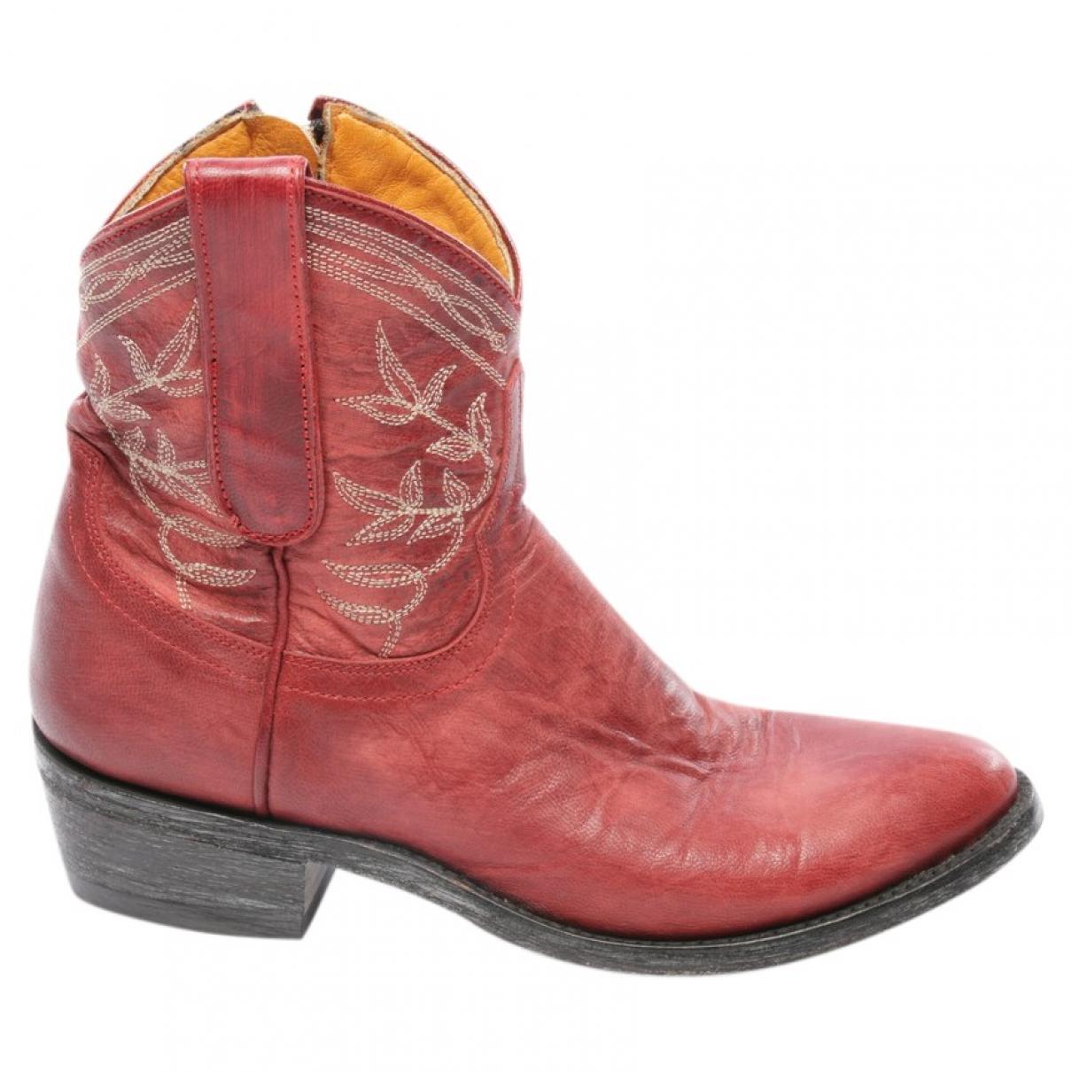 Mexicana - Boots   pour femme en cuir - rouge