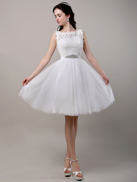 Milanoo A-Line/Princess  Knee-Length Lace Bodice Tulle Wedding Dress With Beading Sequins Sash
