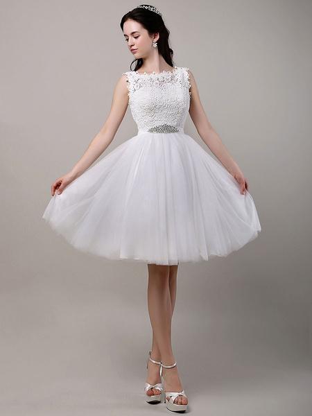 Milanoo Vestido de novia de tul con escote redondo y lentejuela hasta la rodilla