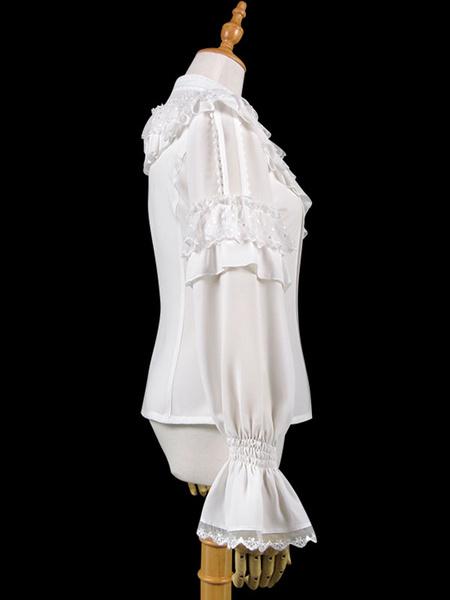 Milanoo Classic Lolita Shirt Lace Ruffle Bow Chiffon White Lolita Top