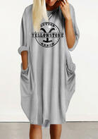 Yellowstone Pocket Loose Casual Dress - Gray