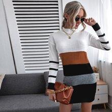 Pullover Kleid mit Trichterhals und Farbblock