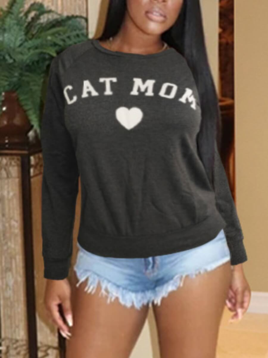 LW Lovely Casual O Neck Letter Print Dark Grey Hoodie