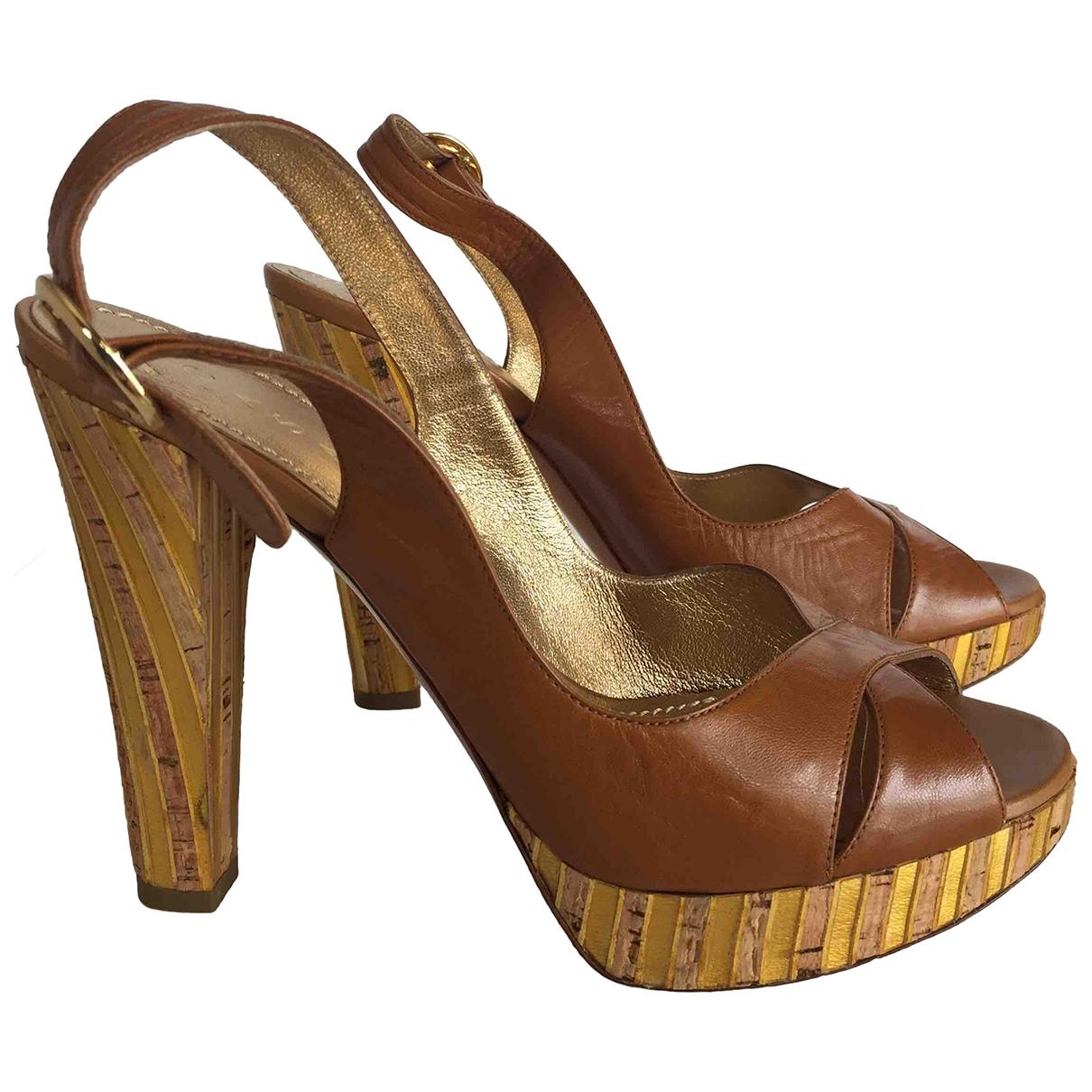 Casadei - Escarpins   pour femme en cuir - camel