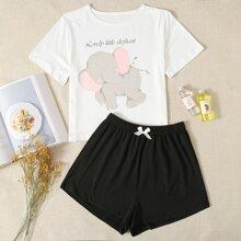Conjunto de pijama con estampado de slogan y elefante