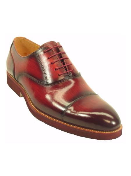 Burgundy Men's Leather Cap Toe Oxford Shoes With Matching Sole