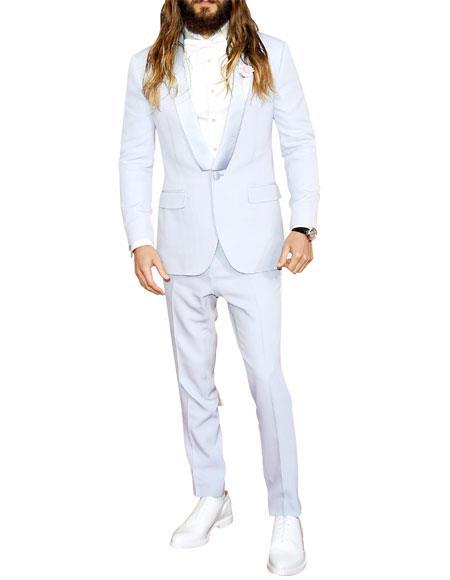 Men's 1 Button Off White Shawl Lapel Flat Front Pants Tuxedo