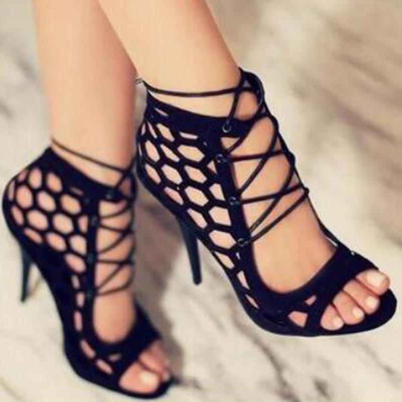 Ericdress Open Toe Stiletto Heel Lace-Up Cross Strap Sandals