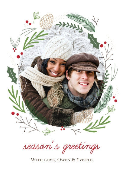 Holiday Photo Cards 5x7 Folded Cards, Standard Cardstock 85lb, Card & Stationery -Forest Wreath Greetings