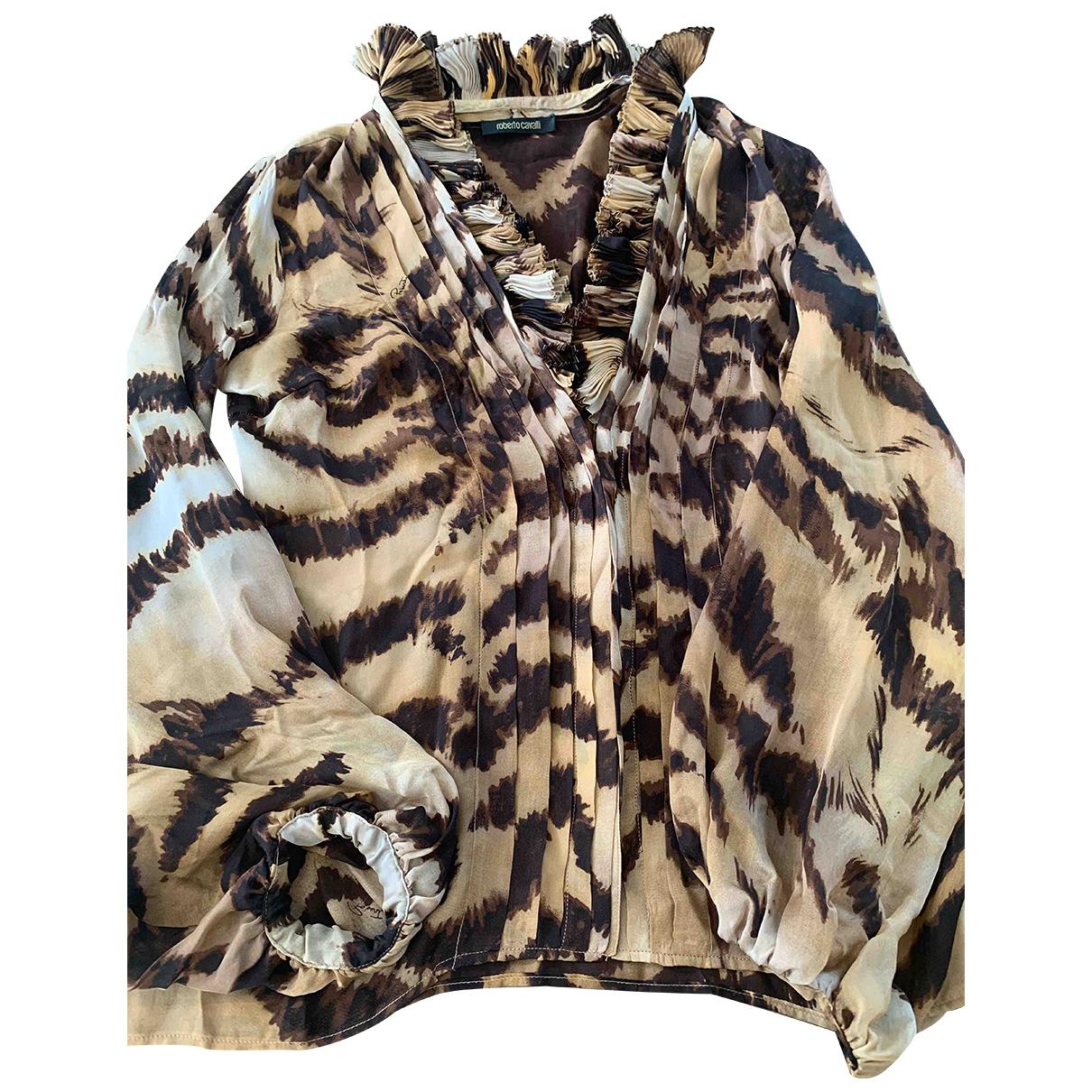 Roberto Cavalli N Brown Silk  top for Women 42 IT