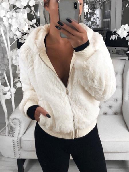 Milanoo Abrigos de piel sintetica de color burdeos para mujer Abrigo de invierno con capucha informal de manga larga