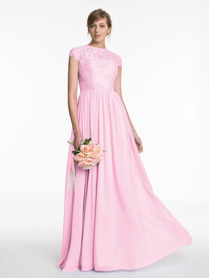 Ericdress Beautiful Jewel Short Sleeves Lace Long Bridesmaid Dress