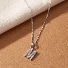 1pc Rhinestone Decor M-shaped Charm Necklace