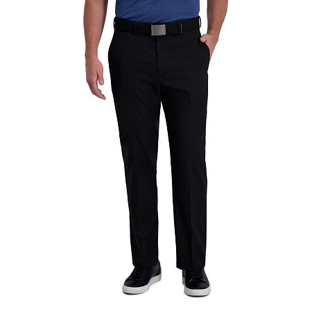 Haggar Cool Right Performance Flex Classic Fit Flat Front Men's Pant, 38 29, Black
