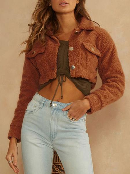 Milanoo Women Jacket Turndown Collar Metal Details Polyester Cotton Women Jacket
