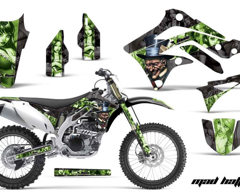 AMR Racing Dirt Bike Graphics Kit Decal Sticker Wrap For Kawasaki KX250F 2009-2012áHATTER GREEN BLACK