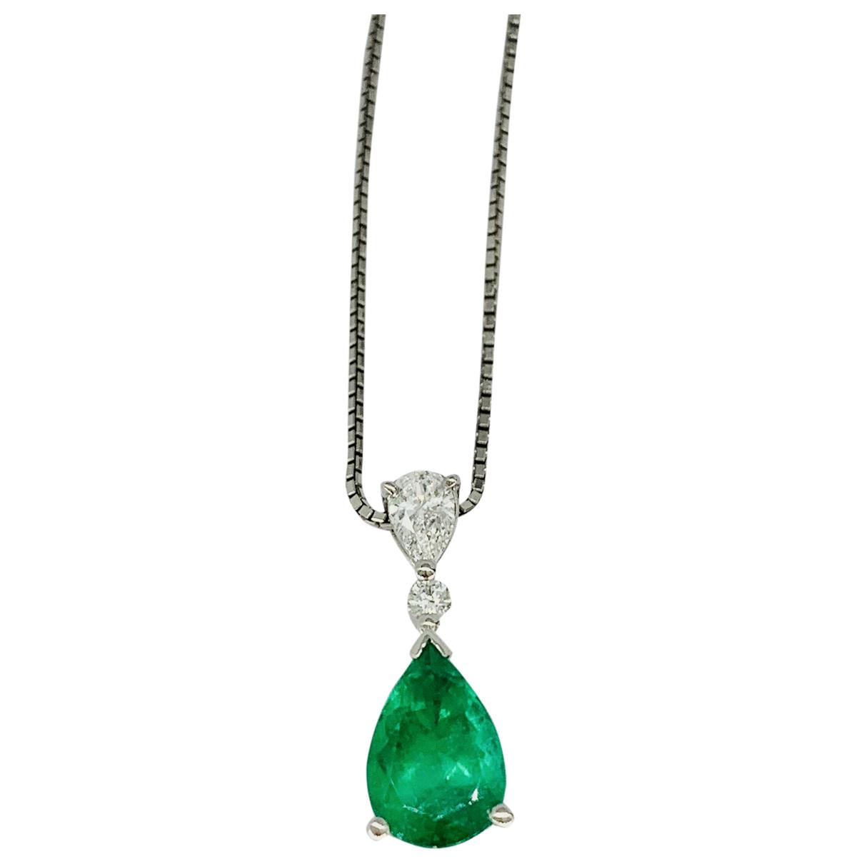 - Pendentif Emeraude pour femme en platine - vert