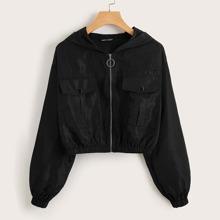 Flap Pocket Front Zip Up Hooded Wind Jacket