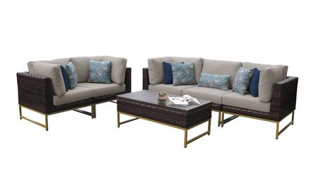 Barcelona BARCELONA-06m-GLD-BEIGE 6-Piece Patio Set 06m with 4 Corner Chairs  1 Armless Chair and 1 Coffee Table - 2 Beige Covers with Gold