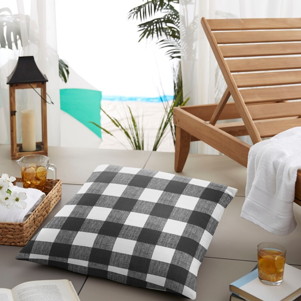 Humble + Haute Black Buffalo Plaid Indoor/ Outdoor Square Floor Pillow - 26 in w x 26 in d (26 in w x 26 in d)