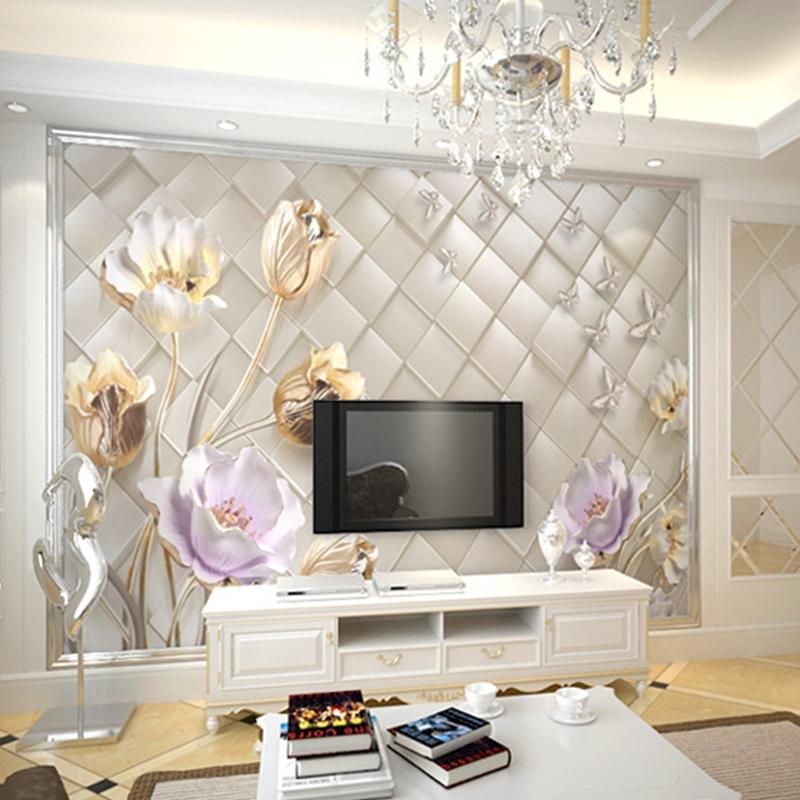 Two Pattern Waterproof Environment Friendly Non-woven Fabrics 3D Flower Wall Murals/Wallpaper