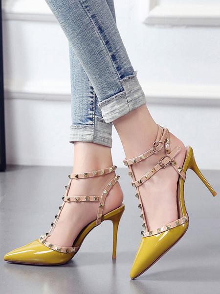 Milanoo Zapatos de tacon de aguja con punta puntiaguda para mujer Tacon alto elegante con remaches