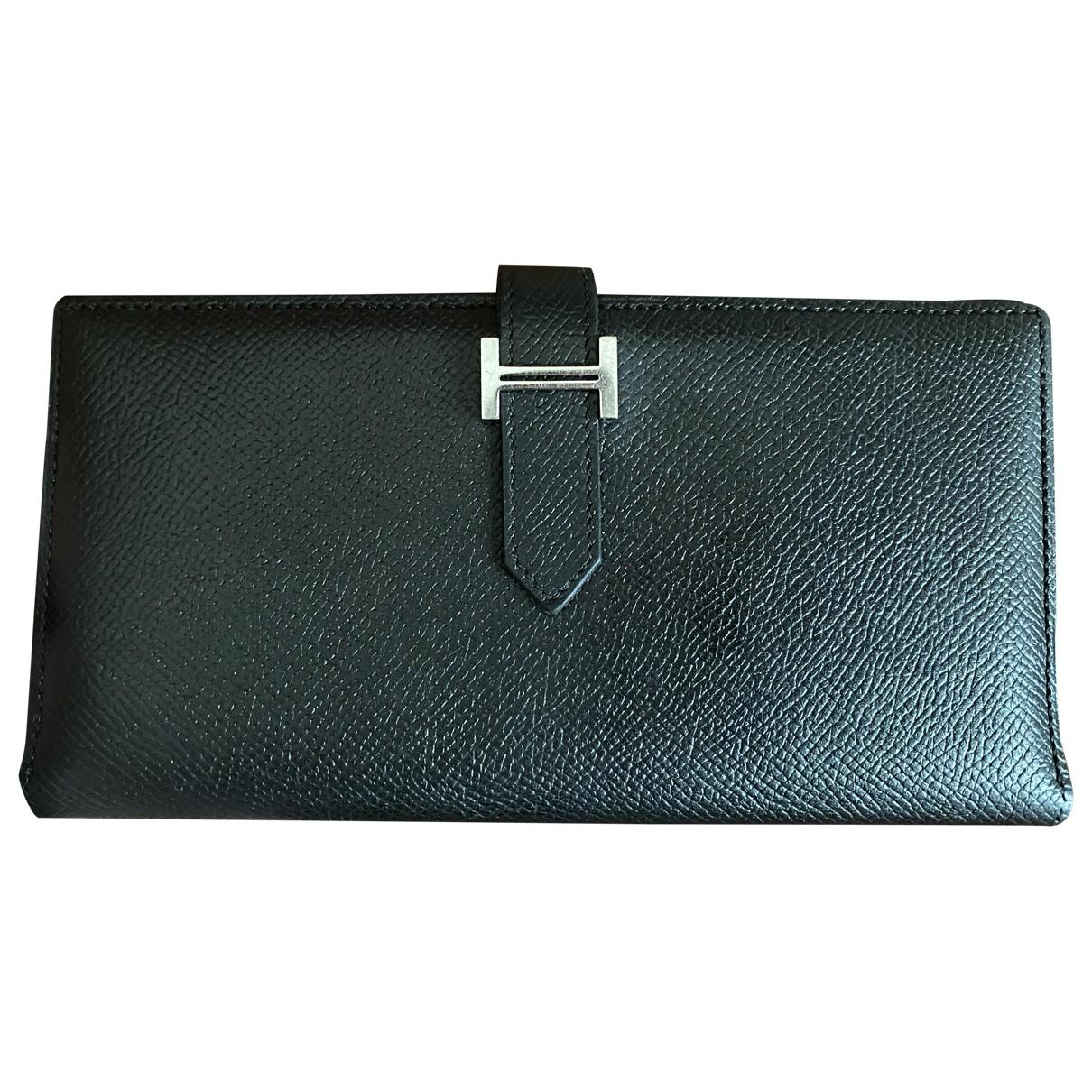 Hermes - Portefeuille Bearn pour femme en cuir - noir