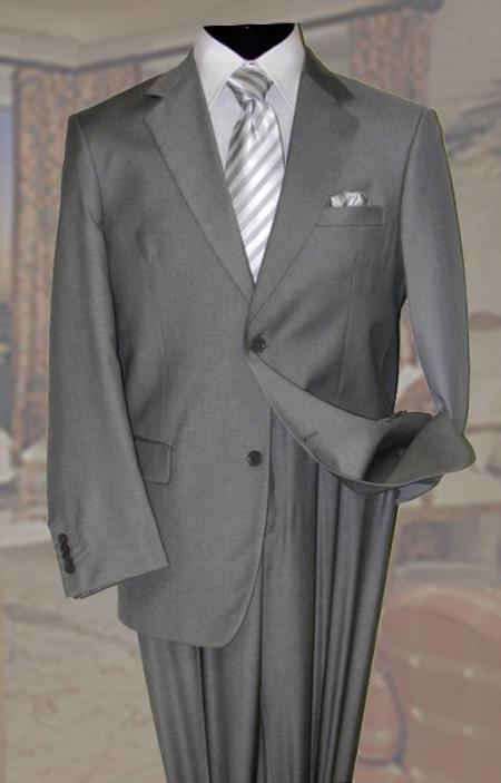 Gray Mens Wool Suit 2 Button With Hand Pick Stitching on Lapel