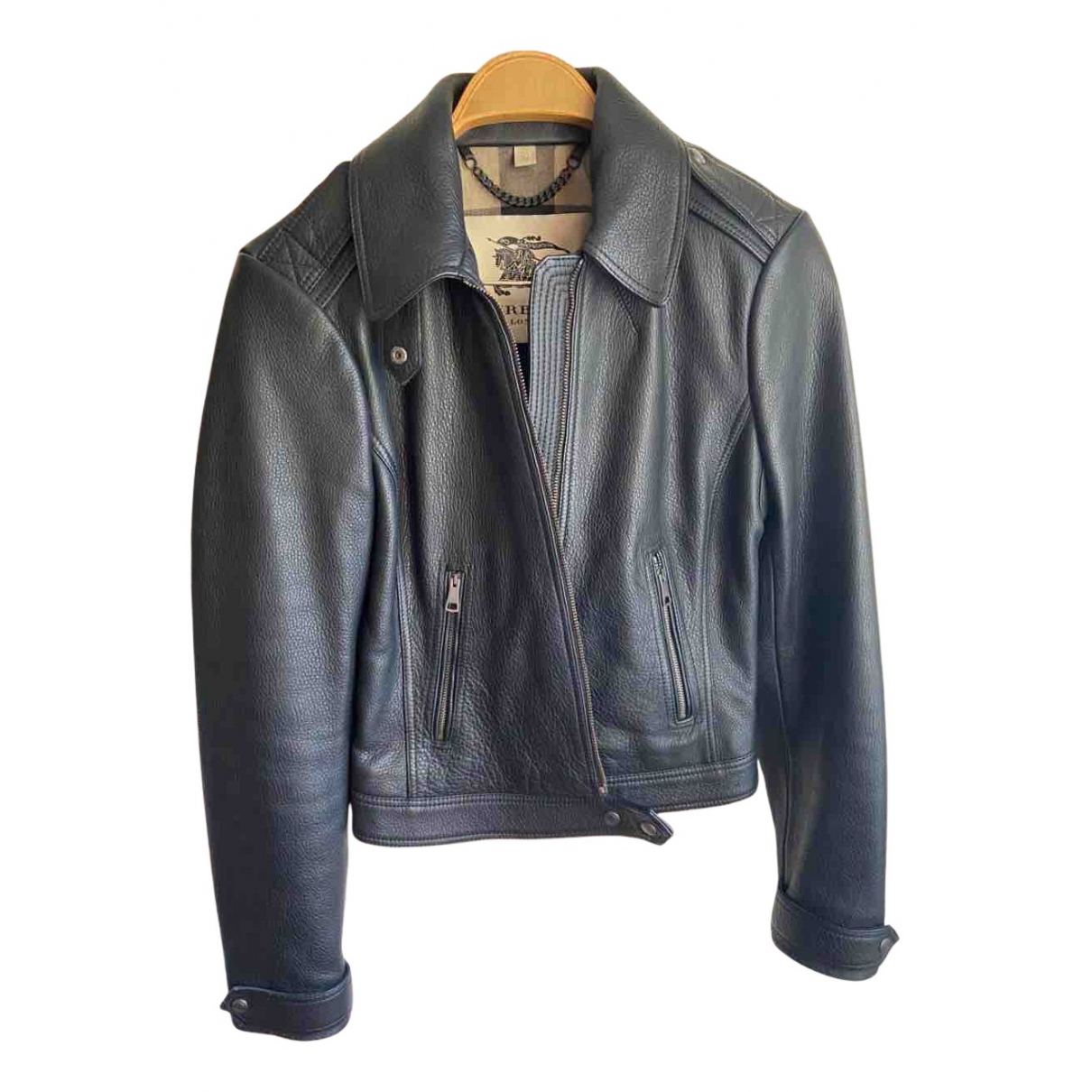 Burberry N Black Leather jacket for Women 36 FR