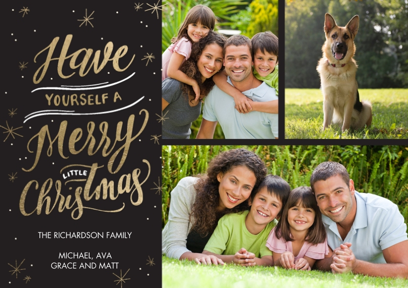 Christmas Photo Cards Flat Matte Photo Paper Cards with Envelopes, 5x7, Card & Stationery -Christmas Sparkling Gold Memories