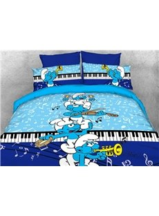 Harmony Smurfs Play the Music 4-Piece Bedding Sets/Duvet Covers