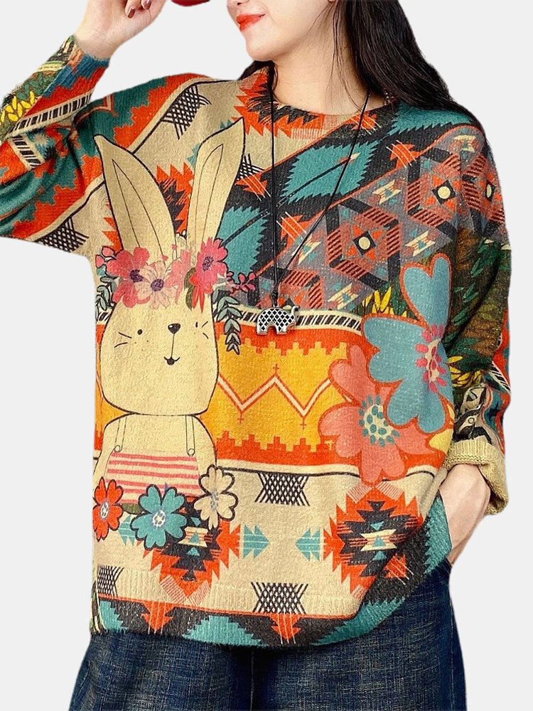 Cartoon Printed Long Sleeve O-neck Sweater For Women