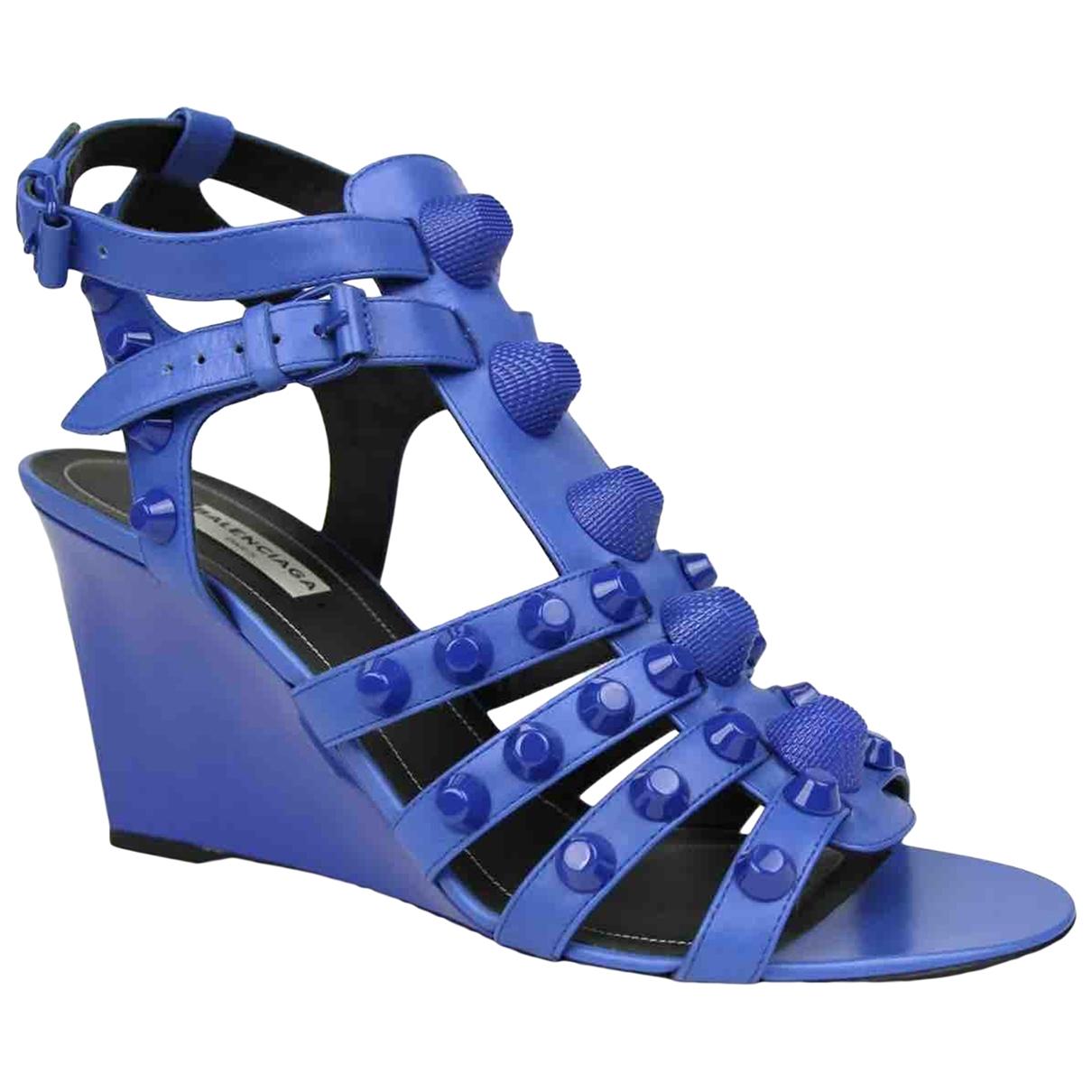 Balenciaga - Sandales   pour femme en cuir - turquoise