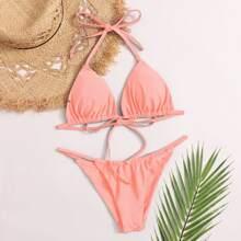 Halter Triangle Thong Bikini Swimsuit