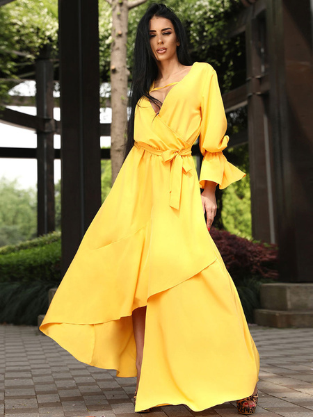 Milanoo Yellow Maxi Dress Long Sleeve Plunging Cut Out Irregular Long Dress