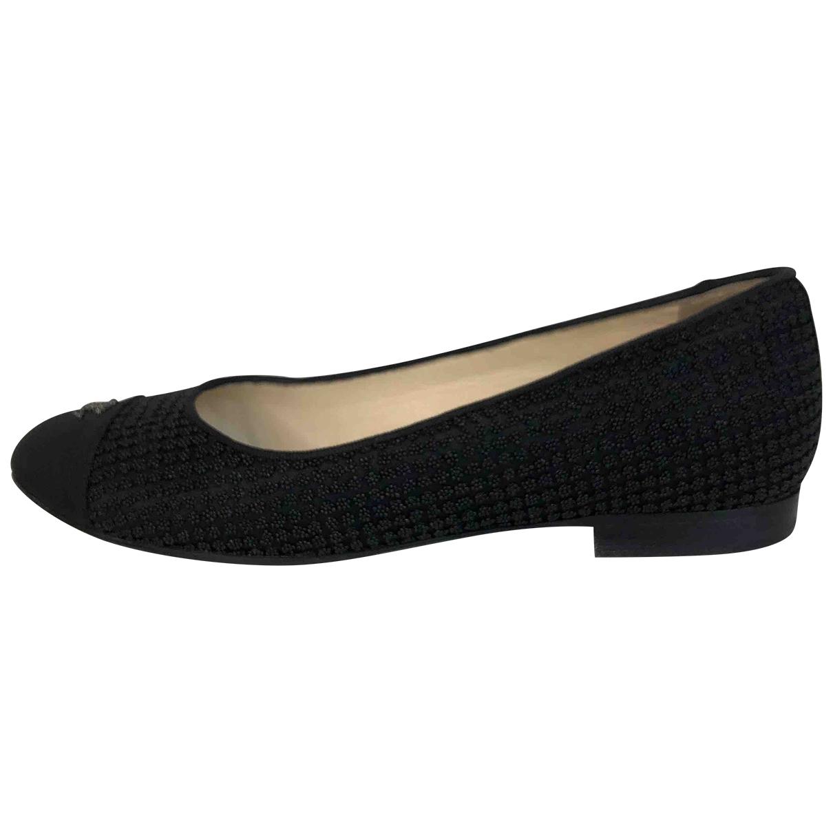 Chanel - Ballerines   pour femme en toile - noir