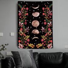 Tapisserie mit Mond & Blumen Muster