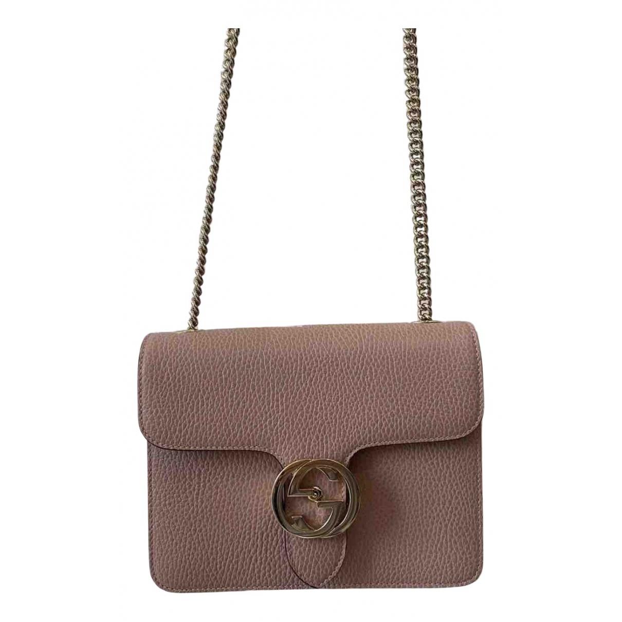 Gucci - Sac a main Interlocking pour femme en cuir - rose