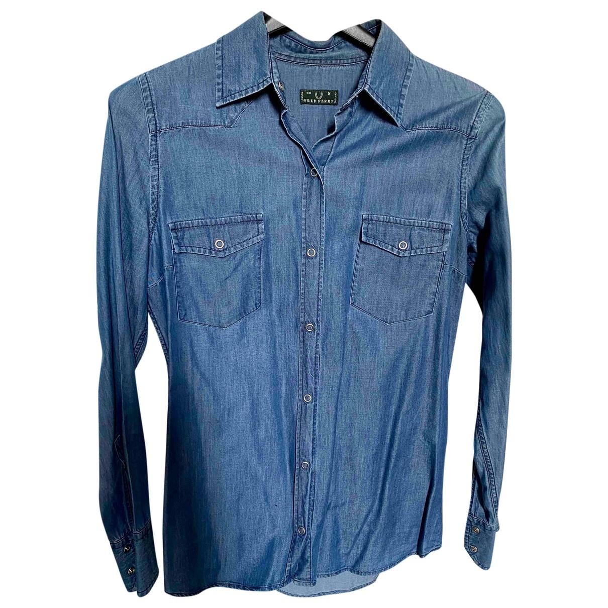 Fred Perry - Top   pour femme en coton - bleu