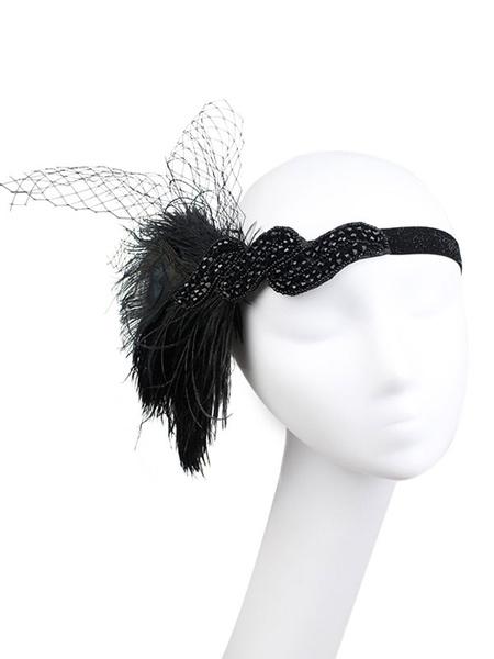 Milanoo Black Flapper Headband 1920s Great Gatsby Headpieces Feathers Rhinestone Women Vintage Hair Accessories Halloween