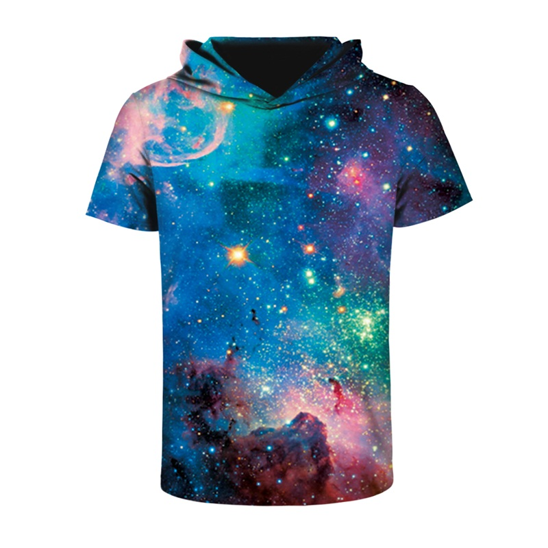 Galaxy Fashion Design Pattern 3D Printed Short Sleeve for Men Hooded T-shirt